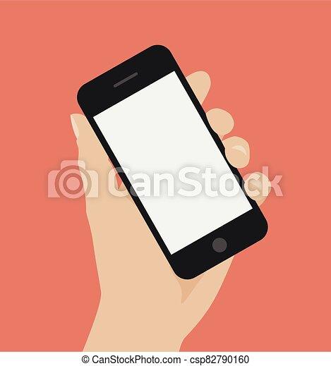 להחזיק, חכם, העבר, טלפן, רקע אדום - csp82790160