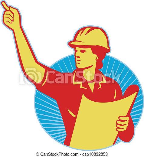 להצביע, עובד, בניה, ראטרו, נקבה, הנדס - csp10832853