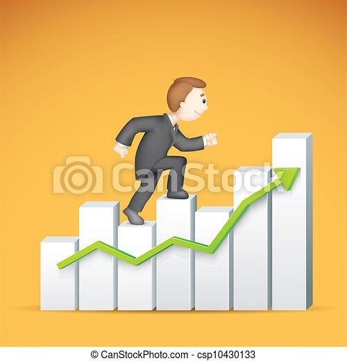 לטפס, bargraph, איש של עסק - csp10430133