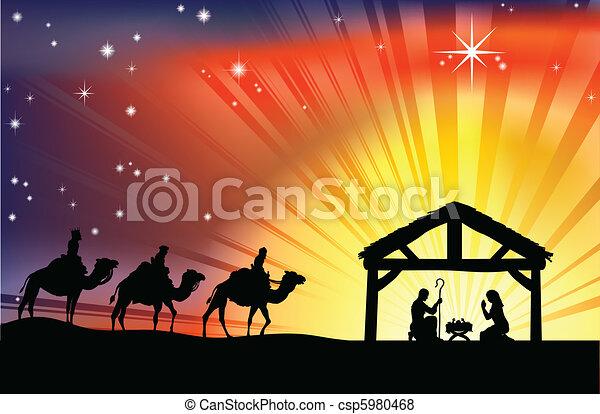 לידה, נוצרי, קטע של חג ההמולד - csp5980468