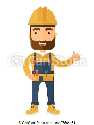 ללבוש, קשה, נגר, דוגמה, סרבל, כובע, שמח - csp27564181