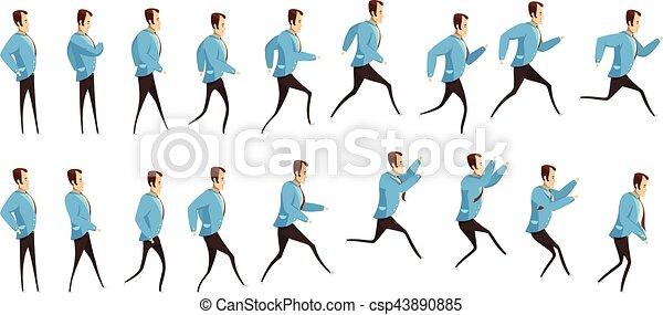 לרוץ, לקפוץ, אנימציה, איש - csp43890885