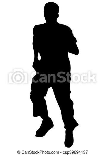 לרוץ, רקע לבן, איש - csp39694137