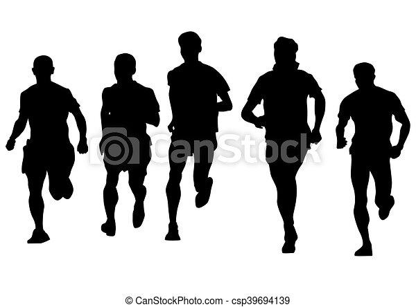 לרוץ, רקע לבן, אנשים - csp39694139