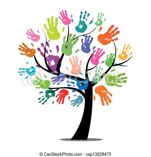 מדפיס, וקטור, עץ, צבעוני, העבר - csp13228470