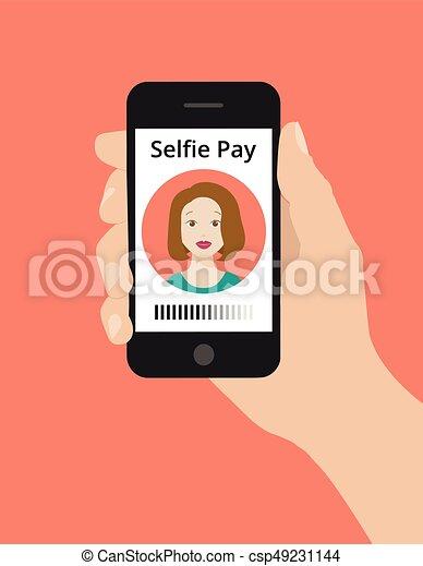 מושג, שלם, selfie, העבר, טלפן, החזק, חכם - csp49231144