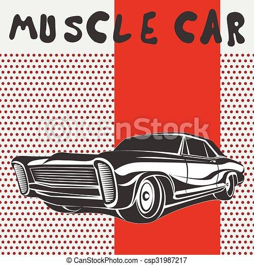 מכונית, וקטור, שריר, פוסטר - csp31987217