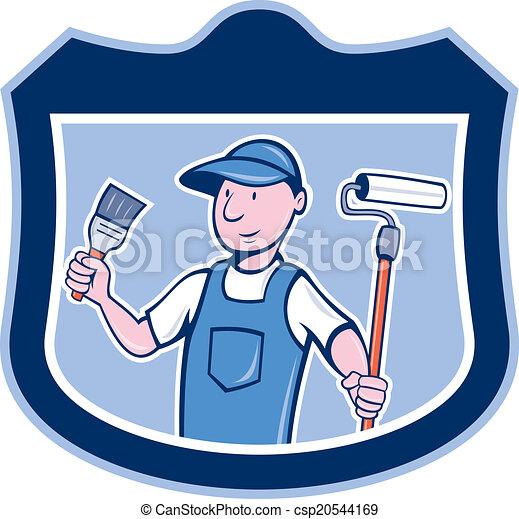 מכחול, דיר צייר, להחזיק, ציור היתולי, מוט גלילי - csp20544169