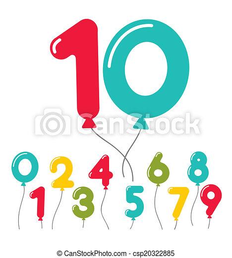 מפלגה, balloon, קבע, יום הולדת, מספרים - csp20322885