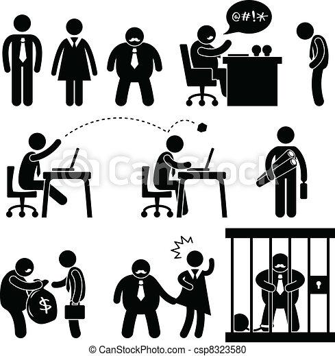 מצחיק, בוס, משרד של עסק, איקון - csp8323580