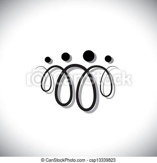 משפחה, אנשים, symbols(icons), תקציר, ארבעה, לולאות, להשתמש, קו - csp13339823