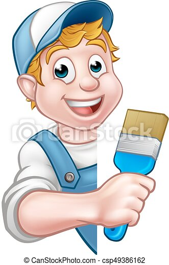 מתקן כל דבר, אופי, צייר, דקורטור, ציור היתולי - csp49386162