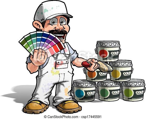 מתקן כל דבר, צבע, -, מדים, לבחור, לבן, צייר - csp17445591