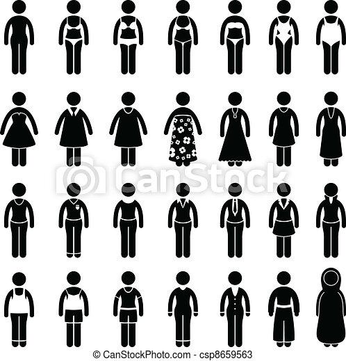 סיגנון, עצב, בגדים, לבש, אישה - csp8659563