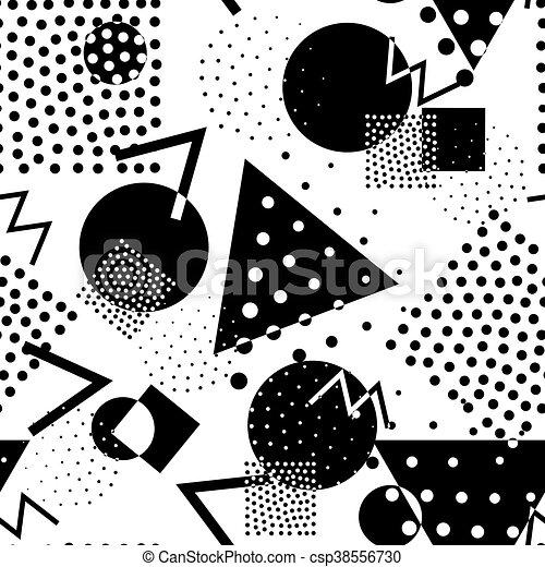 סיגנון, תבנית, seamless, 80s, גיאומטרי, ממפיס, ראטרו - csp38556730