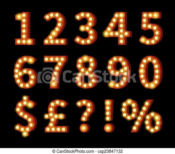 סמלים, מבריק, שחור, מספרים - csp23847132