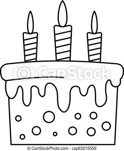 עוגה, איקון, סיגנון, יום הולדת, תאר - csp63215559