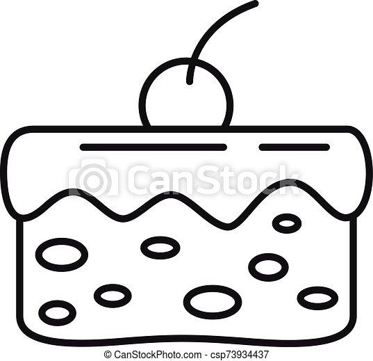 עוגה, איקון, תאר, סיגנון, דובדבן - csp73934437