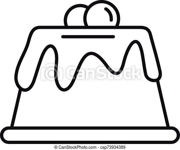 עוגה, כמו שמנת, תאר, איקון, סיגנון - csp73934389