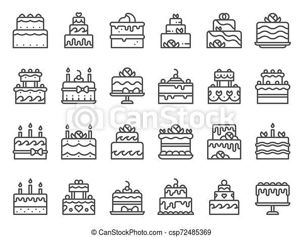 עוגות, קבע, אומנות, תאר, נרות, icons., כאפכאק, מאפיה, וקטור, ביתי, טעים, מתוק, עוגה, קו, קינוח, איקון - csp72485369
