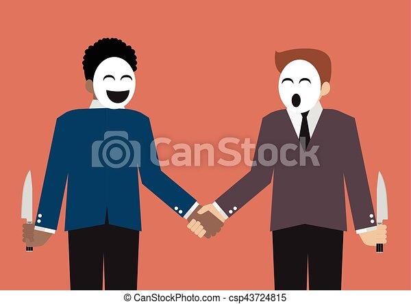 עסק, בגידה, אנשי עסקים, מזויף, שותף, סכין, להתחבא - csp43724815