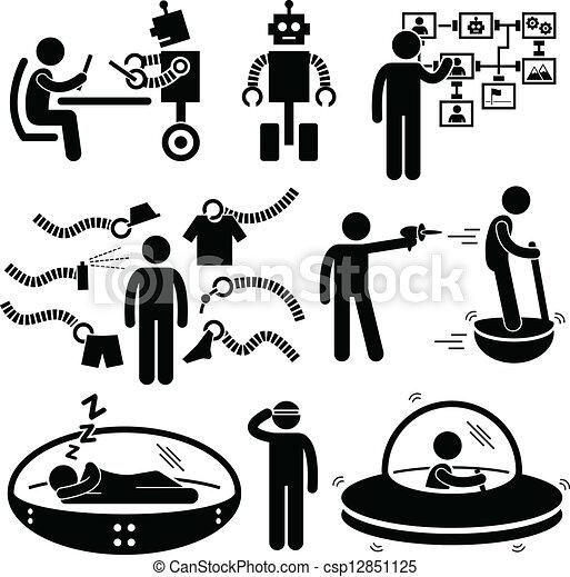 עתיד, טכנולוגיה, רובוט, פיכטוגראם - csp12851125