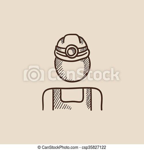 פחם, רשום, כורה, icon. - csp35827122