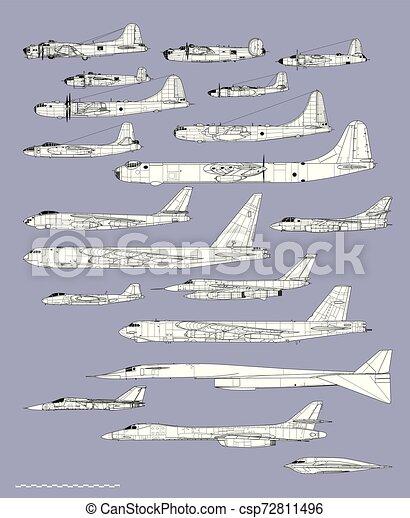 ציור, אמריקאי, מטוס, bombers., היסטוריה, תאר, וקטור, profiles. - csp72811496