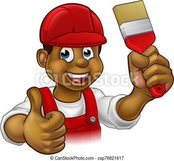 צייר, איש, ציור היתולי, מתקן כל דבר, דקורטור - csp76821617