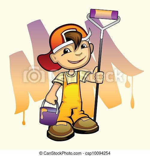 צייר, צעיר, מוט גלילי - csp10094254