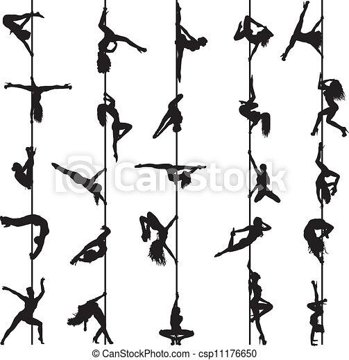 צלליות, רקדנים, קבע, קוטב - csp11176650