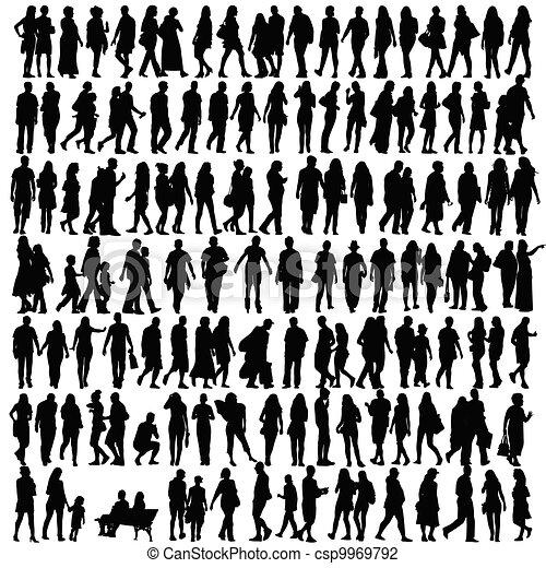 צללית, וקטור, שחור, אנשים - csp9969792