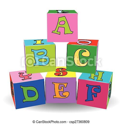 צעצועים, צבעוני, מכתב, קוביות - csp27360809