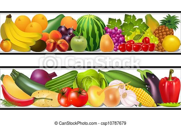 קבע, אוכל, ירקות, וקטור, פירות, לצבוע, רטוב - csp10787679