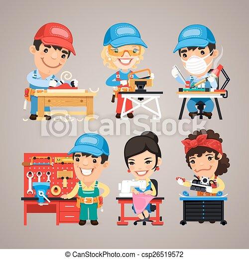 קבע, עובדים, עבודה, שולחנות, שלהם, ציור היתולי - csp26519572