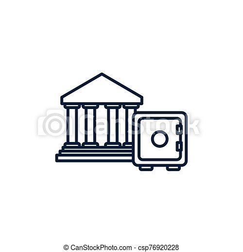 קופסה, דמות, כסף, קו, כספת, בנקאות - csp76920228