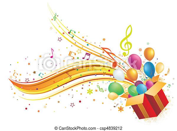קופסה, מוסיקה, מתנה - csp4839212