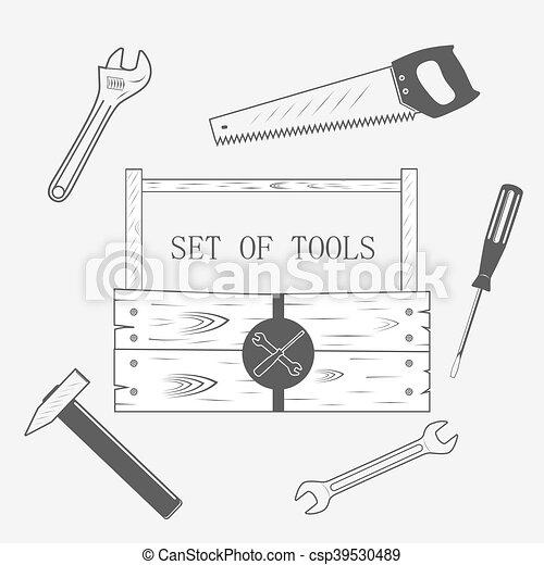 קופסה, toolset, עץ - csp39530489