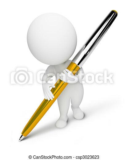 קטן, people-pen, 3d - csp3023623
