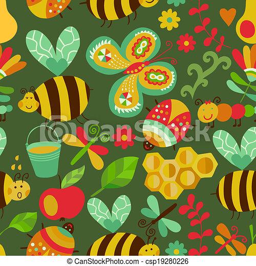 קיץ, יערה, התמלא, זה, התגלה, template., design., רשת, השתמש, תבנית של מארג, pattern., seamless, flowers., רקע, תרכובת, דבורות, טקסטורות, פרחוני, נייר, עמוד, וקטור, או, רקע - csp19280226