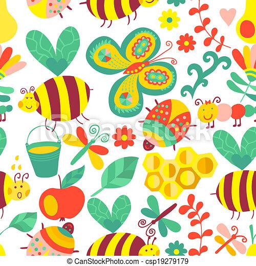 קיץ, יערה, התמלא, זה, התגלה, template., design., רשת, השתמש, תבנית של מארג, pattern., seamless, flowers., רקע, תרכובת, דבורות, טקסטורות, פרחוני, נייר, עמוד, וקטור, או, רקע - csp19279179