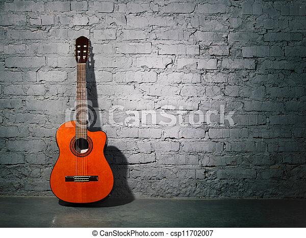 קיר, גיטרה, אקוסטי, מלוכלך, לסמוך - csp11702007