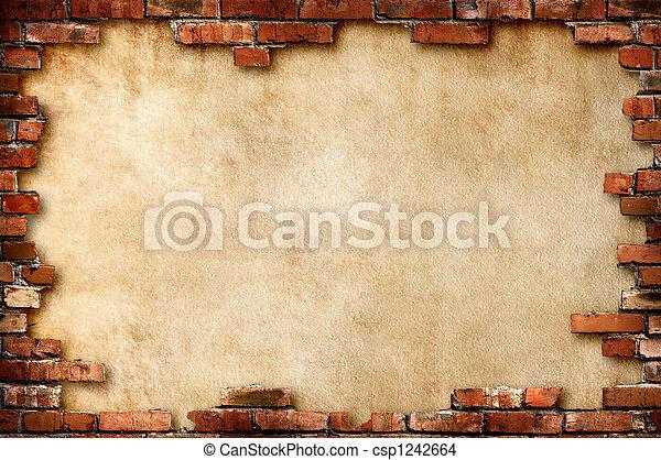 קיר, מלוכלך, לבנה, הסגר - csp1242664