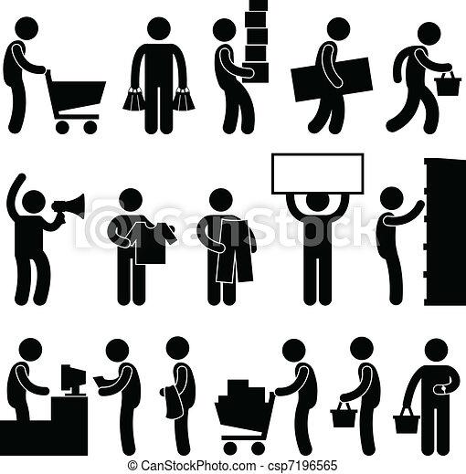 קניות, אנשים, מכירה, עגלה, תור, איש - csp7196565