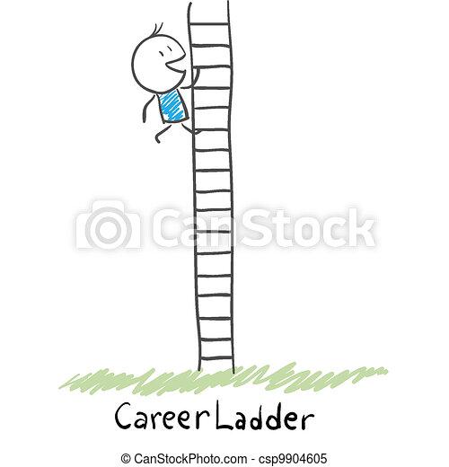 קריירה, לטפס, איש, illustration., ladder. - csp9904605
