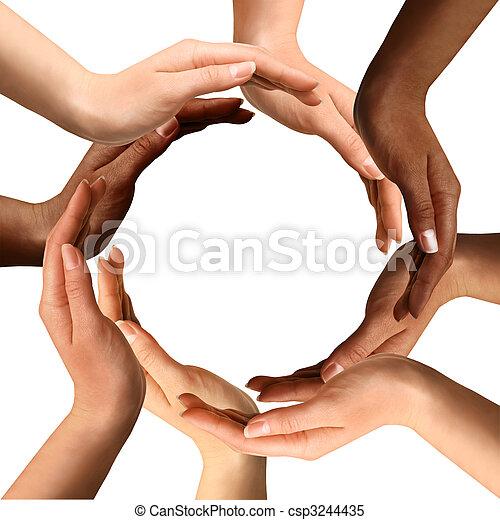 רב גזעני, לעשות, הסתובב, ידיים - csp3244435