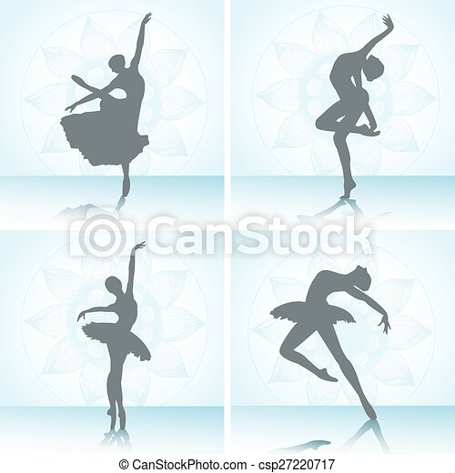 רקדנים, קבע, בלט, silhouettes. - csp27220717
