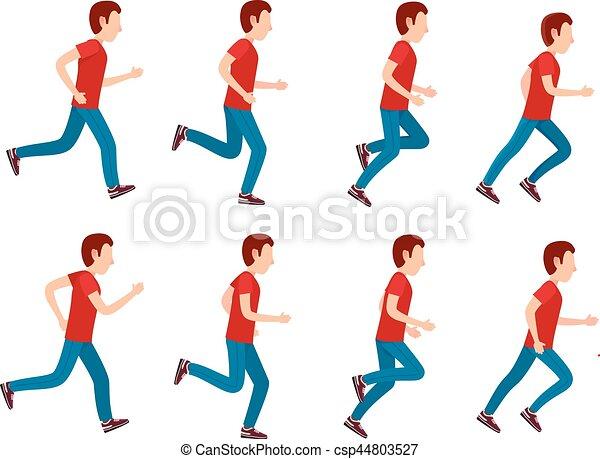 שדון, set., לרוץ, אנימציה, 8, איש, הסגר, loop. - csp44803527
