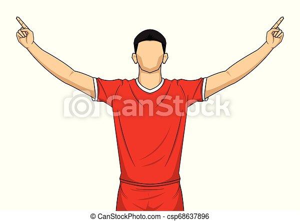 שמח, הפרד, שחקן, uniform., רקע, לבן, כדורגל, אדום, חגיגה - csp68637896