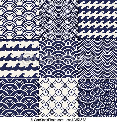 תבנית, אוקינוס, seamless, קרזל - csp12356573
